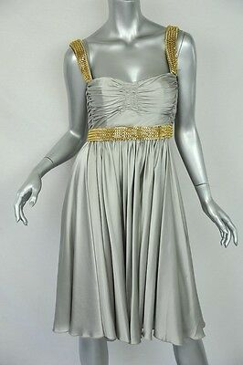 DOLCE & GABBANA Silver SILK+CHAIN EMBELLISHED Ruched Bustier/Evening Dress NEW S
