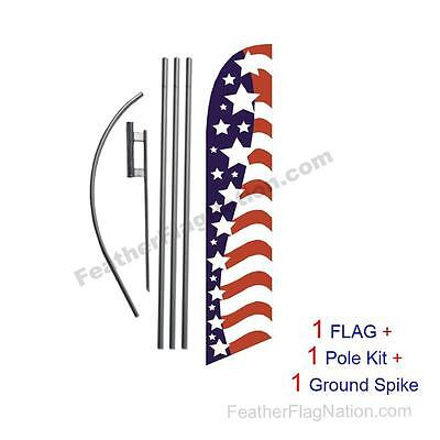 American Glory Stars left 15' Feather Banner Swooper Flag Kit with pole+spike