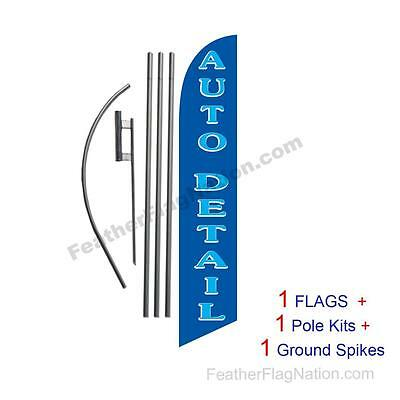 Auto Detail (blue) 15' Feather Banner Swooper Flag Kit with pole+spike
