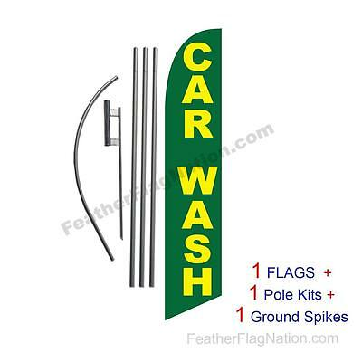 Car Wash (green and yellow) 15' Feather Banner Swooper Flag Kit with pole+spike