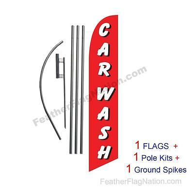 Car Wash (red and white) 15' Feather Banner Swooper Flag Kit with pole+spike