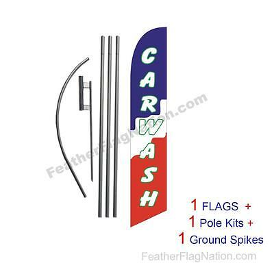 Car Wash (blocks) 15' Feather Banner Swooper Flag Kit with pole+spike