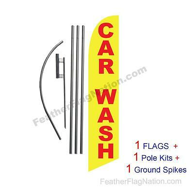 Car Wash (yellow and red) 15' Feather Banner Swooper Flag Kit with pole+spike
