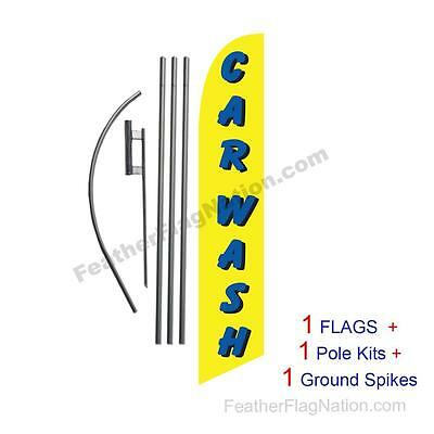 Car Wash (yellow and blue) 15' Feather Banner Swooper Flag Kit with pole+spike