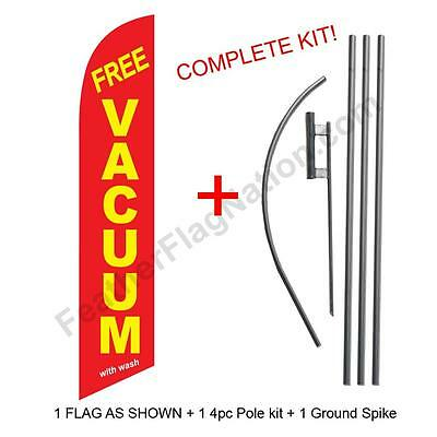 Free Vacuum (red) 15' Feather Banner Swooper Flag Kit with pole+spike