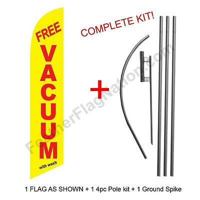 Free Vacuum (yellow) 15' Feather Banner Swooper Flag Kit with pole+spike