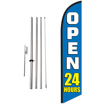 Open 24 Hours (blue) 15' Feather Banner Swooper Flag Kit with pole+spike