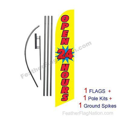 Open 24 Hours (yellow) 15' Feather Banner Swooper Flag Kit with pole+spike