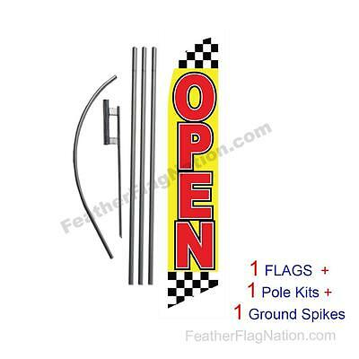 Open (checkered) 15' Feather Banner Swooper Flag Kit with pole+spike