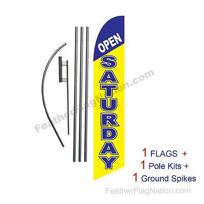 Open Saturday 15' Feather Banner Swooper Flag Kit with pole+spike