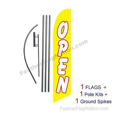 Open (yellow and white) 15' Feather Banner Swooper Flag Kit with pole+spike