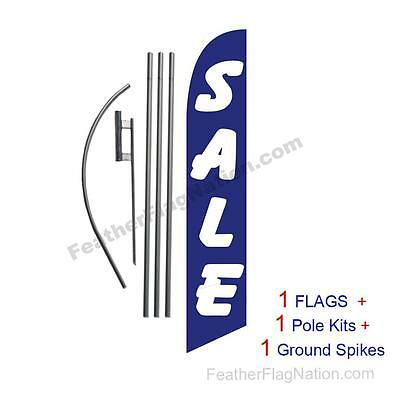 SALE (blue and white) 15' Feather Banner Swooper Flag Kit with pole+spike