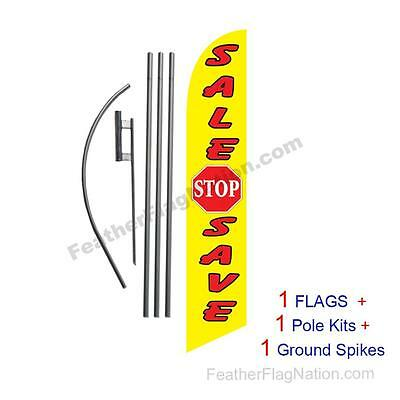 Sale Stop Save 15' Feather Banner Swooper Flag Kit with pole+spike