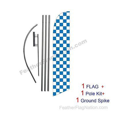 Blue and White Checkered 15ft Feather Banner Swooper Flag Kit with pole+spike