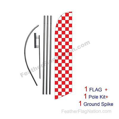 Red and White Checkered 15ft Feather Banner Swooper Flag Kit with pole+spike