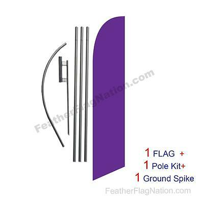 Solid Violet 15ft Feather Banner Swooper Flag Kit with pole+spike