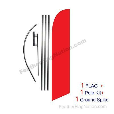 Solid Red 15ft Feather Banner Swooper Flag Kit with pole+spike