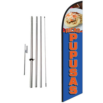 Ricas Pupusas 15ft Feather Banner Swooper Flag Kit with pole+spike