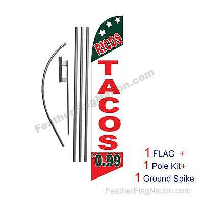 Ricas Tacos 99 cents 15ft Feather Banner Swooper Flag Kit with pole+spike