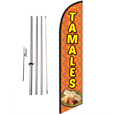 Tamales 15ft Feather Banner Swooper Flag Kit with pole+spike