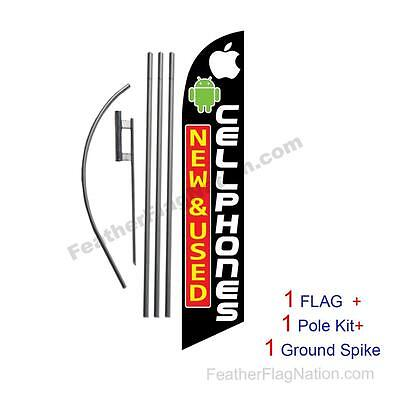 New & Used Cellphones 15ft Feather Banner Swooper Flag Kit with pole+spike
