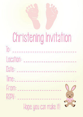 16 Christening Invitations- Girl Party Celebration Church Blessing Parent Baby