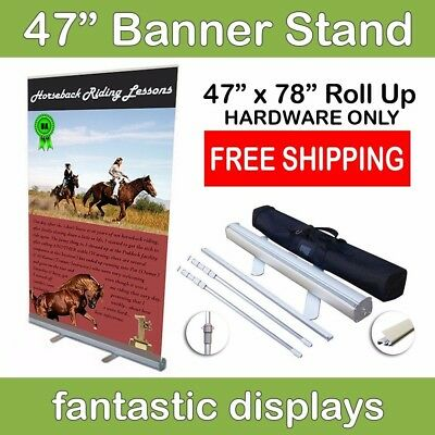"47"" Retractable Roll Up Banner Stand - Holds 34""-78"" Tall Banners"