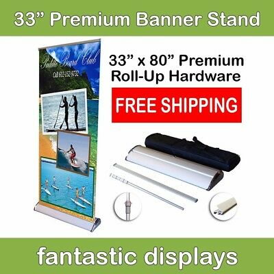 "33"" Premium Retractable Roll Up Banner Stand - Holds 34"" - 80"" Tall Banners"