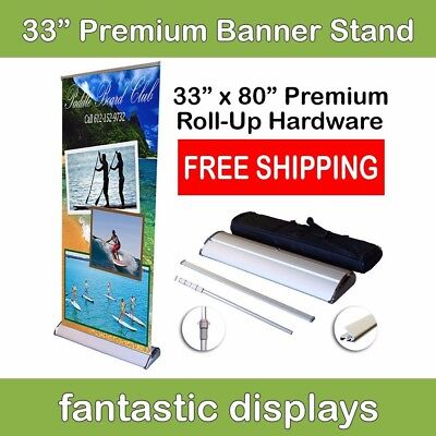 Premium Retractable Banner Stand 33x80  Roll Up Trade Show Display PRO Hardware