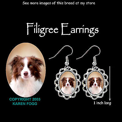 BORDER COLLIE DOG Red Brown - SILVER FILIGREE EARRINGS Jewelry