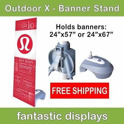 Outdoor X-Shaped Banner Stand w/ Water Base for Sidewalk Retail Sales Signs