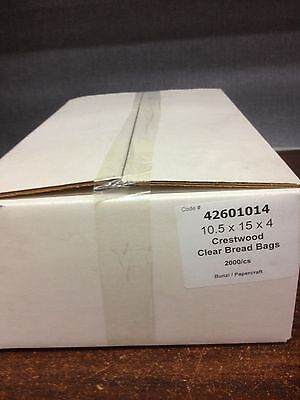 Bread Bags, 2000 bags per carton. Crestwood Clear Bread Bags 10.5in x 15in x 4in