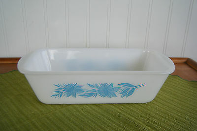 Vtg Retro White Milk Glass with Blue Flowers Loaf Bread Cake Pan Dish Handles