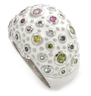 "Splendid Multi-Color Gemstone ''Dome Shape"" 925 Sterling Silver and White Enamel"