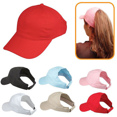 Womens Girls Soft 100% Cotton Ponytail Caps Hats with Visor Flex Elastic Closure