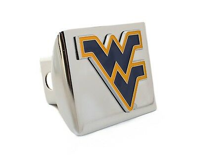 West Virginia Colors Chrome Metal Hitch Receiver Cover
