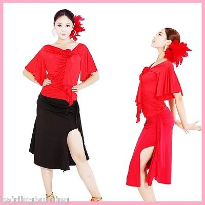 Tango Ballroom Dancing Top Skirt Salsa Latin Dance Party Costume Clubwear DS02