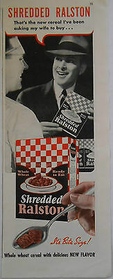 1938 vintage food AD Shredded Ralston whole wheat Cereal with delicious flavor