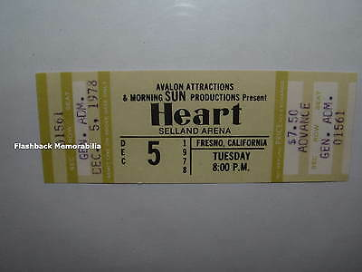 HEART Unused 1978 MINT Concert Ticket FRESNO Selland Arena VERY RARE Ann Wilson