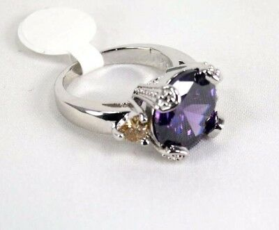 R#2383 simulated Purple Amethyst & Morganite ladies silver ring size 6.25