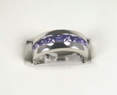 R#8293 simulated Purple Amethyst gemstone unisex silver band ring size 6.5