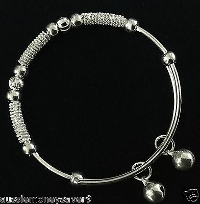 1x baby bangle bracelet 925 Sterling silver plated jewelry FREE giftbag