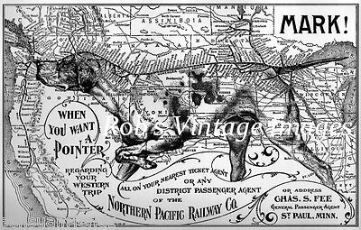 Northern Pacific Advertising Railroad Poster Pointer Route print 1896 Train