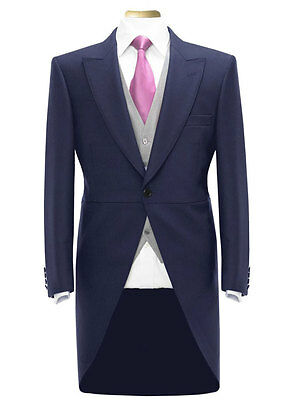 Mens Boys Tail Coat Navy Blue Tailcoat Tails Wedding  Prom Morning Suit
