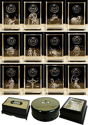 G38 - Zodiac Star Signs Crystal Blocks & LED Display Stands (Sold Separately)