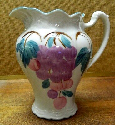 "** Blue Ridge Pottery China "" Grapes "" Helen Jug Pitcher #1 Very Nice Piece **"