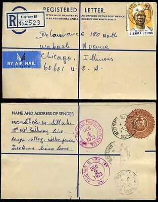 SIERRA LEONE 1973 REGISTERED STATIONERY to CHICAGO