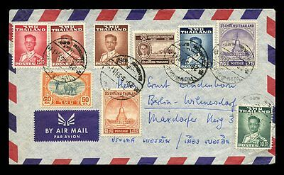 THAILAND AIRMAIL 9 STAMP FRANKING 1959 to BERLIN