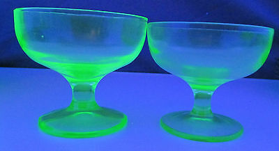 Set of 2 Footed Green Vaseline Dessert Dishes, Very Nice