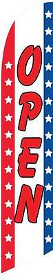 Open (stars and stripes) 12ft Feather Banner Swooper Flag - FLAG ONLY